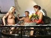Pregnant blonde fucked in groupsex
